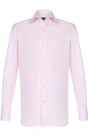 Мужская хлопковая сорочка с воротником кент TOM FORD светло-розового цвета, арт. 2FT196/94C1JE | Фото 1