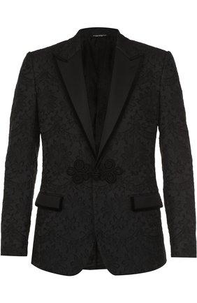 Кружевной приталенный пиджак Dolce & Gabbana черный | Фото №1