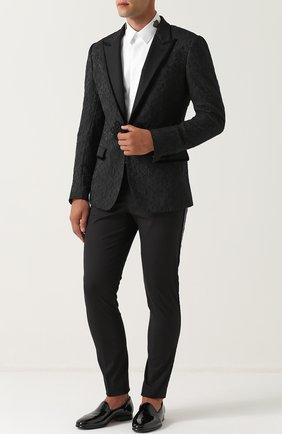 Кружевной приталенный пиджак Dolce & Gabbana черный | Фото №2
