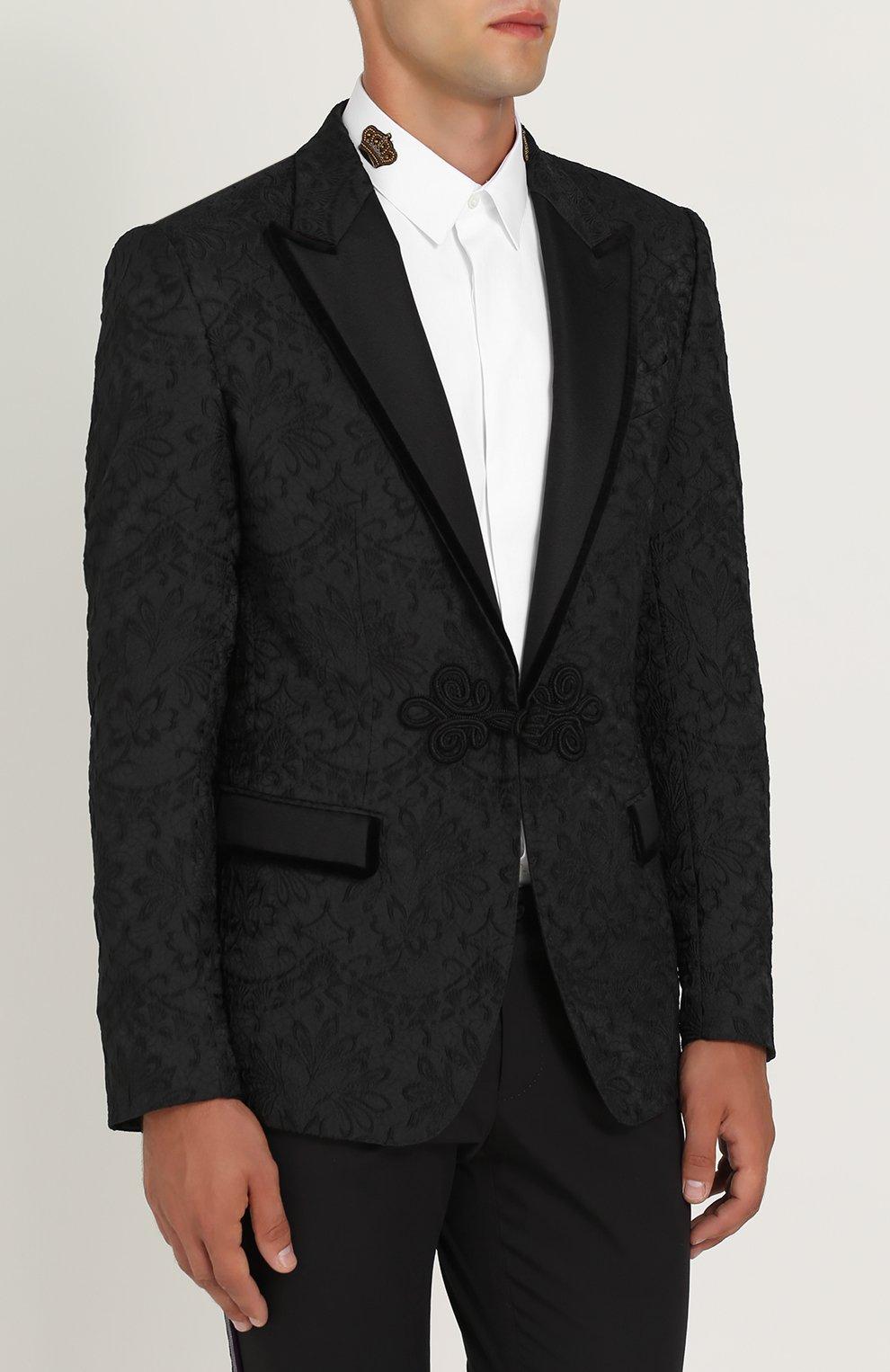 Кружевной приталенный пиджак Dolce & Gabbana черный | Фото №3