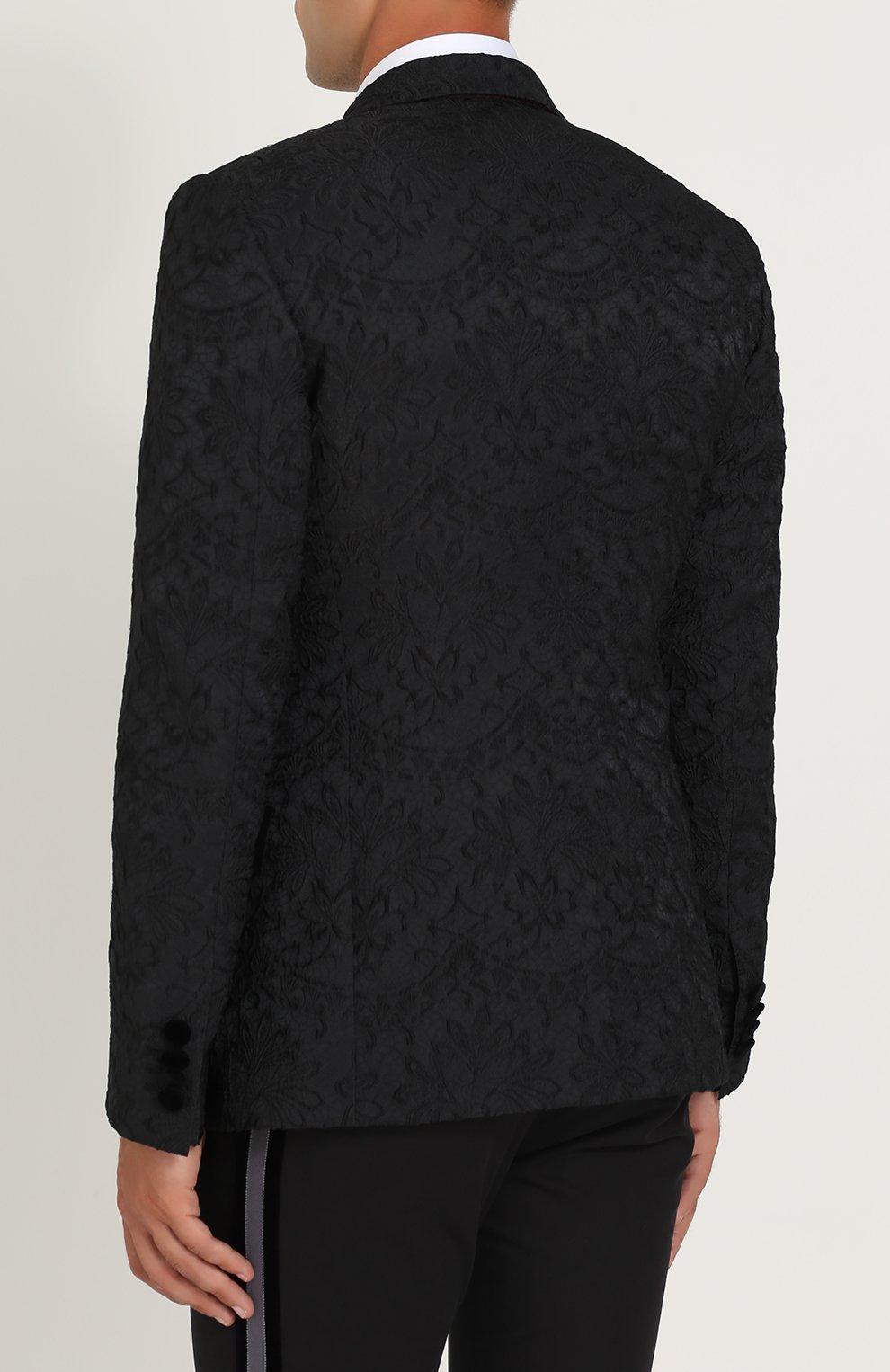 Кружевной приталенный пиджак Dolce & Gabbana черный | Фото №4