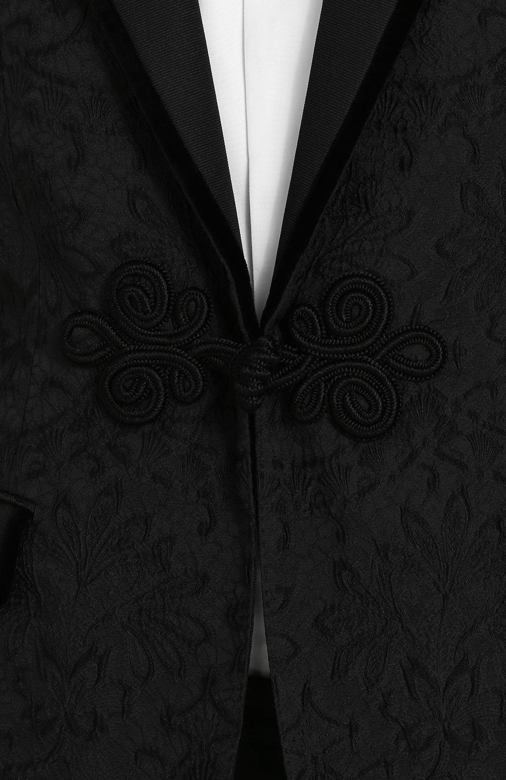 Кружевной приталенный пиджак Dolce & Gabbana черный | Фото №5