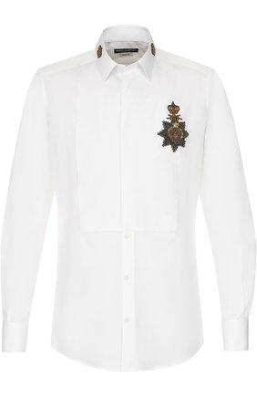 Хлопковая сорочка с аппликацией Dolce & Gabbana белая | Фото №1