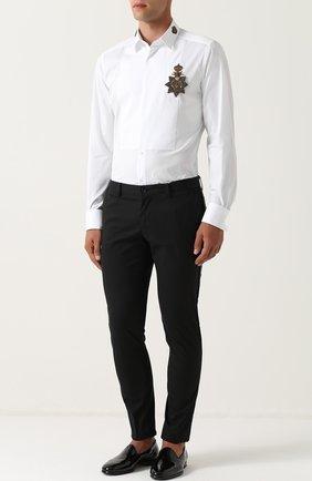 Хлопковая сорочка с аппликацией Dolce & Gabbana белая | Фото №2