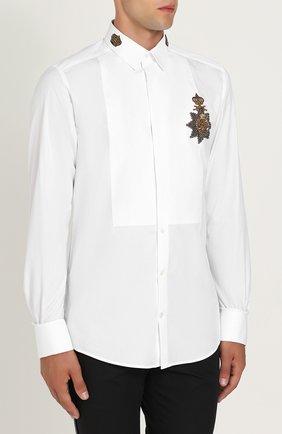 Хлопковая сорочка с аппликацией Dolce & Gabbana белая | Фото №3