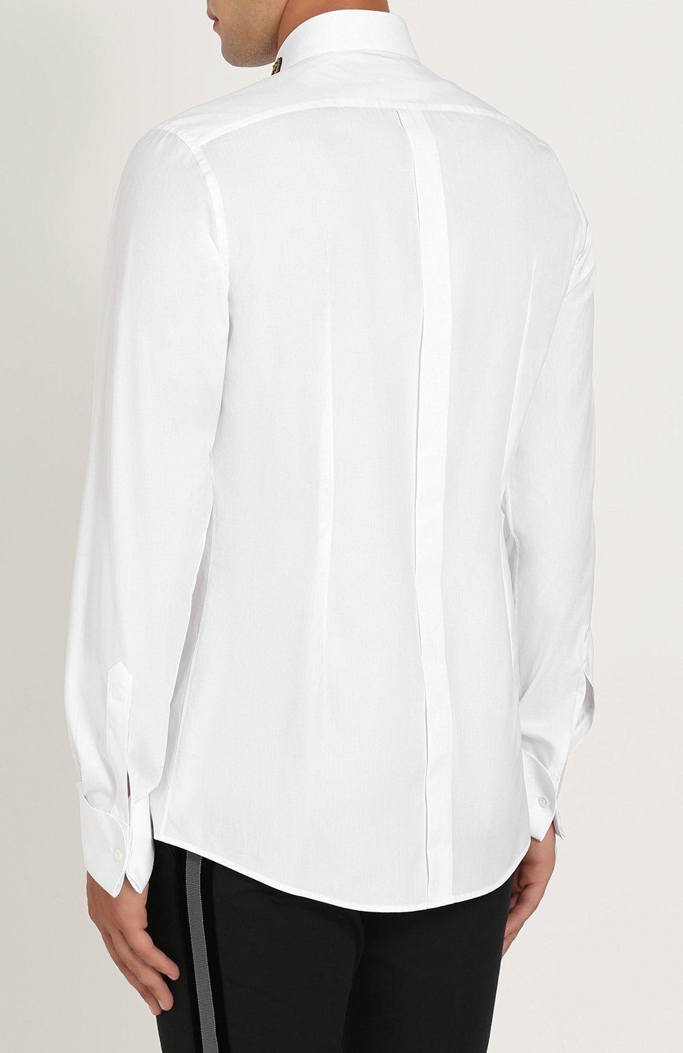 Хлопковая сорочка с аппликацией Dolce & Gabbana белая | Фото №4