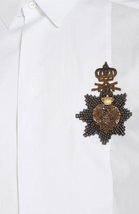 Хлопковая сорочка с аппликацией Dolce & Gabbana белая | Фото №5