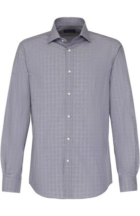 Мужская хлопковая рубашка с воротником кент RALPH LAUREN синего цвета, арт. 791668878 | Фото 1 (Длина (для топов): Стандартные; Рукава: Длинные; Материал внешний: Хлопок; Статус проверки: Проверено; Случай: Повседневный; Воротник: Кент)