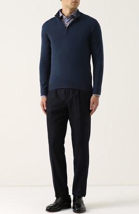 Мужская хлопковая рубашка с воротником кент RALPH LAUREN синего цвета, арт. 791668878 | Фото 2 (Длина (для топов): Стандартные; Рукава: Длинные; Материал внешний: Хлопок; Статус проверки: Проверено; Случай: Повседневный; Воротник: Кент)