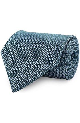 Шелковый галстук с узором Charvet бирюзового цвета | Фото №1