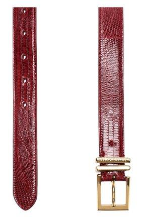 Женский кожаный ремень с металлической пряжкой RALPH LAUREN малинового цвета, арт. 408673802   Фото 2 (Статус проверки: Проверена категория, Проверено; Материал: Кожа)