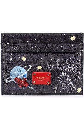Кожаный футляр для кредитных карт с принтом Dolce & Gabbana синего цвета | Фото №1