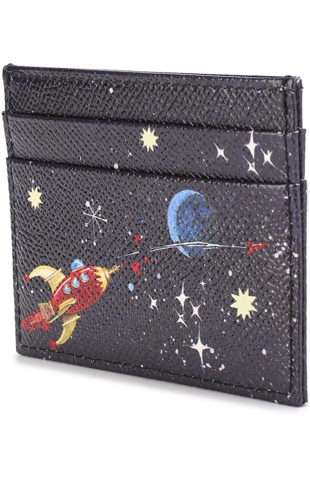 Кожаный футляр для кредитных карт с принтом Dolce & Gabbana синего цвета | Фото №2