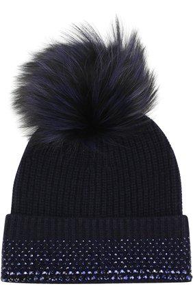 Кашемировая вязаная шапка с отделкой стразами Swarovski и помпоном William Sharp темно-синего цвета | Фото №1