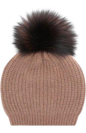 Кашемировая вязаная шапка с меховым помпоном William Sharp коричневого цвета | Фото №1