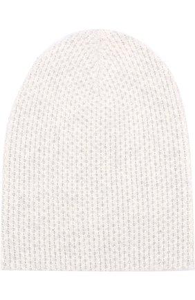 Кашемировая вязаная шапка с отделкой стразами Swarovski William Sharp светло-серого цвета | Фото №1