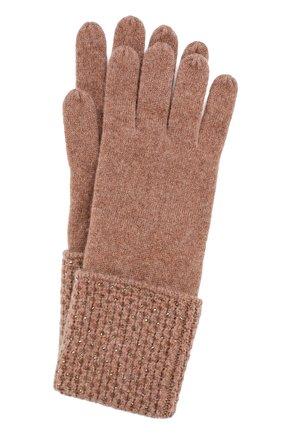Кашемировые перчатки с отделкой стразами Swarovski William Sharp коричневые | Фото №1