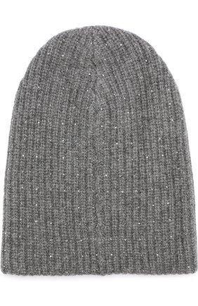 Кашемировая вязаная шапка с отделкой стразами Swarovski William Sharp темно-серого цвета | Фото №1