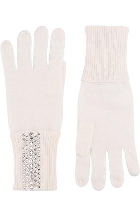 Кашемировые перчатки с отделкой стразами Swarovski William Sharp белые | Фото №1