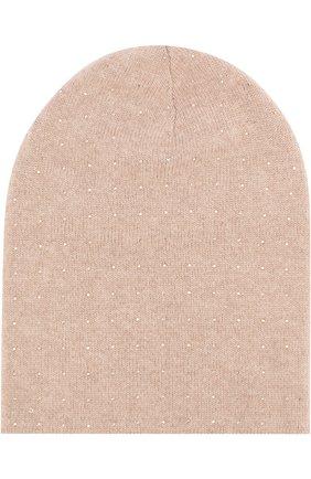 Кашемировая шапка с отделкой стразами Swarovski William Sharp бежевого цвета | Фото №1