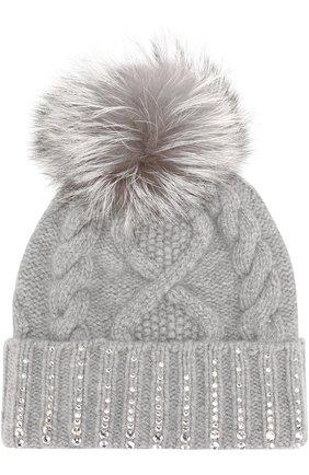 Кашемировая шапка фактурной вязки с кристаллами Swarovski William Sharp серого цвета | Фото №1