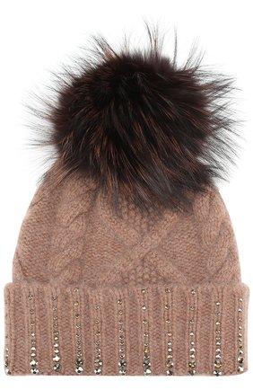 Кашемировая шапка фактурной вязки с кристаллами Swarovski William Sharp коричневого цвета | Фото №1