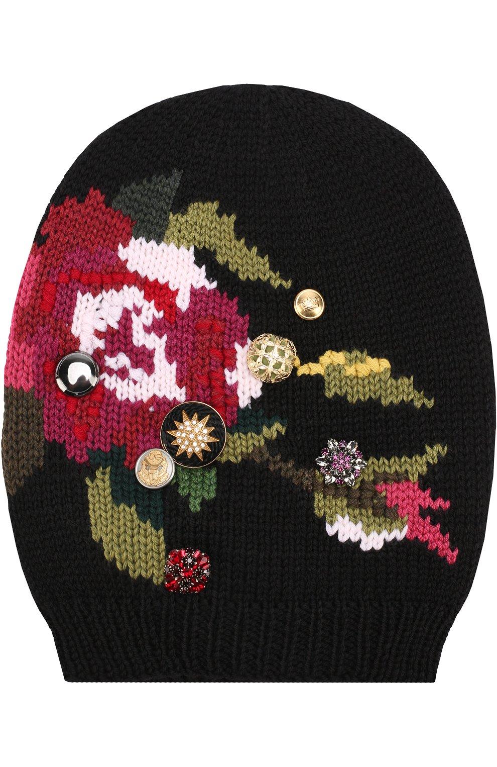 Шерстяная вязаная шапка с принтом и брошками | Фото №1