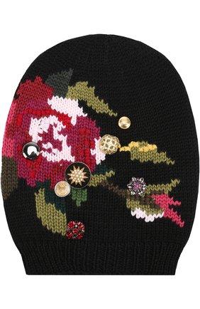 Шерстяная вязаная шапка с принтом и брошками Dolce & Gabbana черного цвета | Фото №1