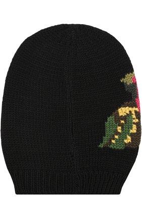 Шерстяная вязаная шапка с принтом и брошками Dolce & Gabbana черного цвета | Фото №2