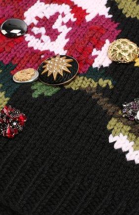 Шерстяная вязаная шапка с принтом и брошками Dolce & Gabbana черного цвета | Фото №3