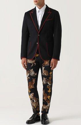 Однобортный пиджак из кашемира с контрастной отделкой Dolce & Gabbana темно-синий | Фото №2