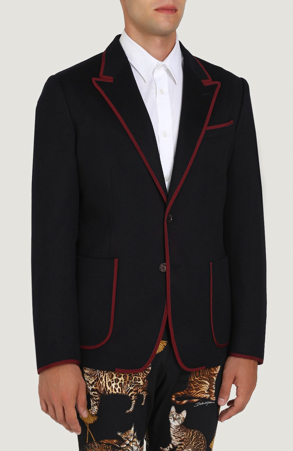 Однобортный пиджак из кашемира с контрастной отделкой Dolce & Gabbana темно-синий | Фото №3