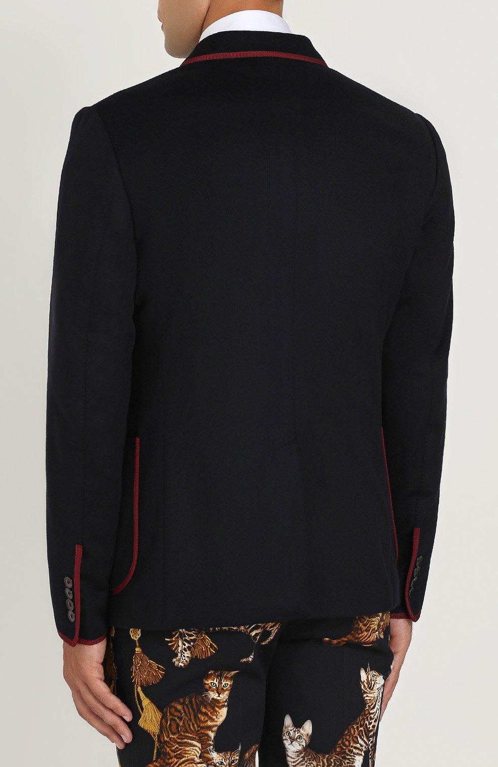Однобортный пиджак из кашемира с контрастной отделкой Dolce & Gabbana темно-синий | Фото №4