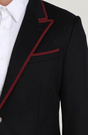 Однобортный пиджак из кашемира с контрастной отделкой Dolce & Gabbana темно-синий | Фото №5
