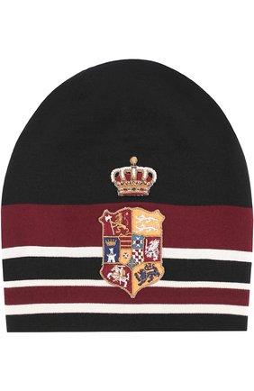 Шерстяная вязаная шапка с вышивкой Dolce & Gabbana черного цвета | Фото №1