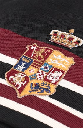 Шерстяная вязаная шапка с вышивкой Dolce & Gabbana черного цвета | Фото №3