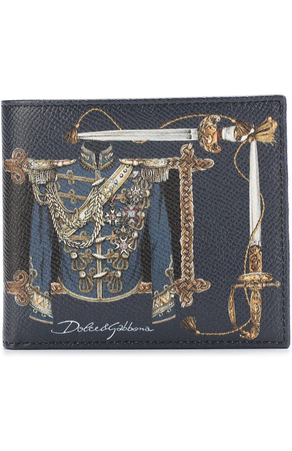 Кожаное портмоне с принтом с отделениями для кредитных карт | Фото №1