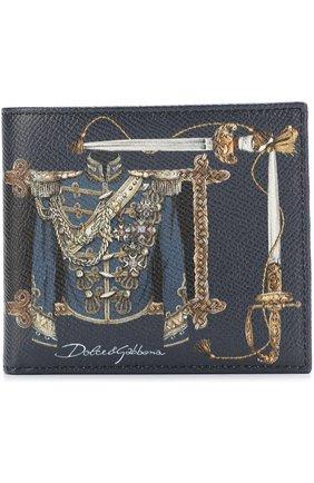 Кожаное портмоне с принтом с отделениями для кредитных карт Dolce & Gabbana синего цвета | Фото №1