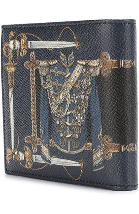 Кожаное портмоне с принтом с отделениями для кредитных карт Dolce & Gabbana синего цвета | Фото №2
