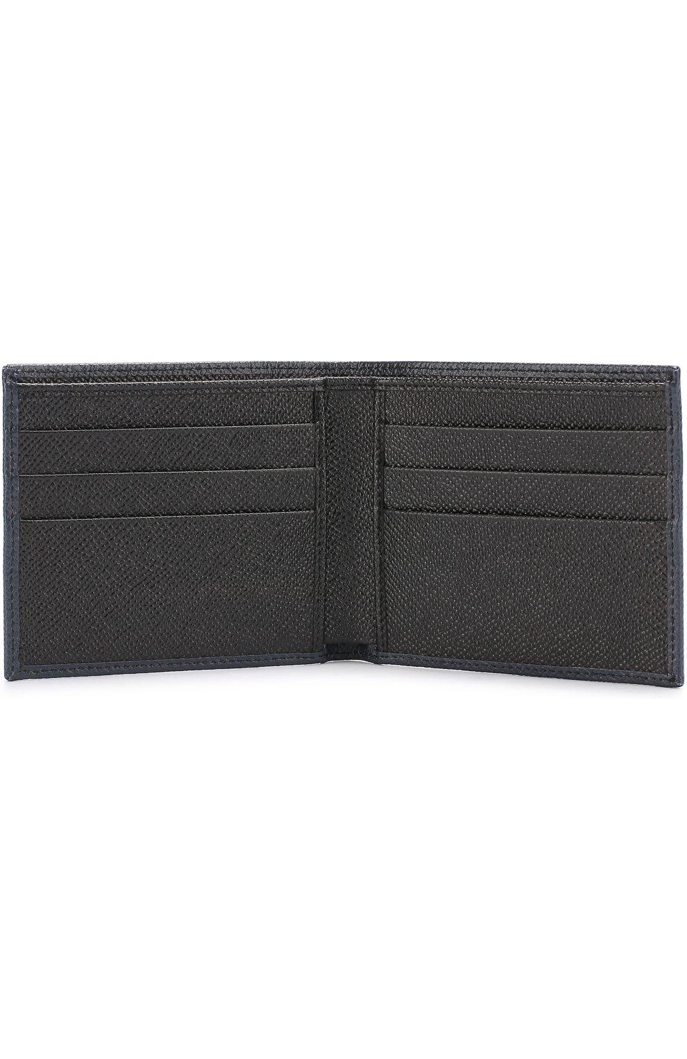 Кожаное портмоне с принтом с отделениями для кредитных карт Dolce & Gabbana синего цвета | Фото №3