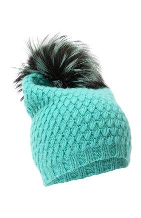 Кашемировая шапка фактурной вязки с меховым помпоном William Sharp бирюзового цвета | Фото №1