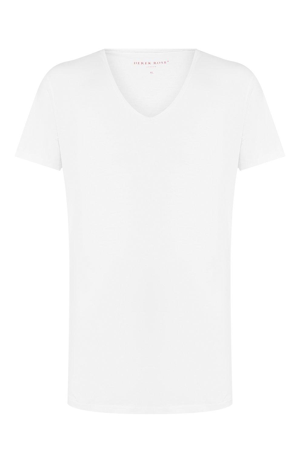 Мужская хлопковая футболка с v-образным вырезом DEREK ROSE белого цвета, арт. 8025-JACK001   Фото 1 (Кросс-КТ: домашняя одежда; Рукава: Короткие; Длина (для топов): Стандартные; Материал внешний: Хлопок; Мужское Кросс-КТ: Футболка-белье)