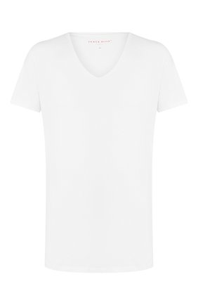 Мужские хлопковая футболка с v-образным вырезом DEREK ROSE белого цвета, арт. 8025-JACK001 | Фото 1