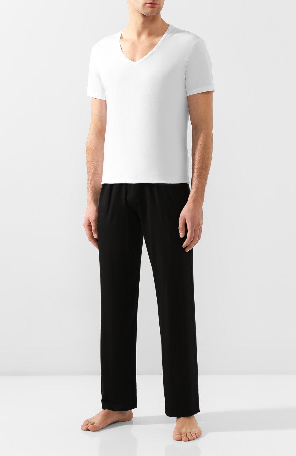 Мужская хлопковая футболка с v-образным вырезом DEREK ROSE белого цвета, арт. 8025-JACK001   Фото 2 (Кросс-КТ: домашняя одежда; Рукава: Короткие; Длина (для топов): Стандартные; Материал внешний: Хлопок; Мужское Кросс-КТ: Футболка-белье)