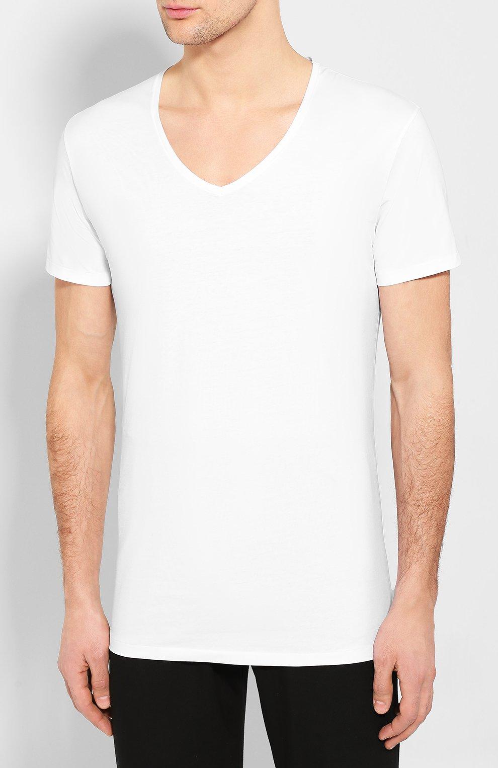 Мужская хлопковая футболка с v-образным вырезом DEREK ROSE белого цвета, арт. 8025-JACK001   Фото 3 (Кросс-КТ: домашняя одежда; Рукава: Короткие; Длина (для топов): Стандартные; Материал внешний: Хлопок; Мужское Кросс-КТ: Футболка-белье)
