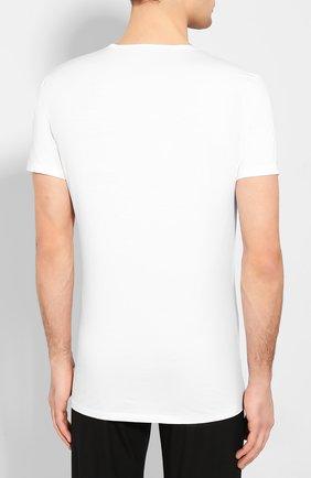 Мужская хлопковая футболка с v-образным вырезом DEREK ROSE белого цвета, арт. 8025-JACK001   Фото 4 (Кросс-КТ: домашняя одежда; Рукава: Короткие; Длина (для топов): Стандартные; Материал внешний: Хлопок; Мужское Кросс-КТ: Футболка-белье)
