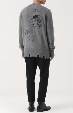 Пуловер из смеси шерсти и кашемира свободного кроя Riccardo Comi синий | Фото №1