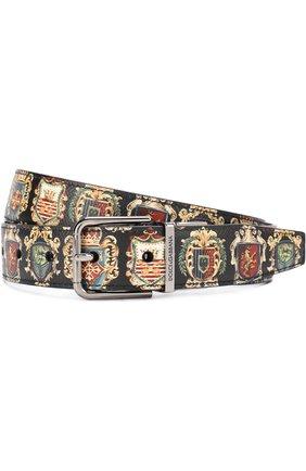 Кожаный ремень с принтом с металлической пряжкой Dolce & Gabbana разноцветный | Фото №1
