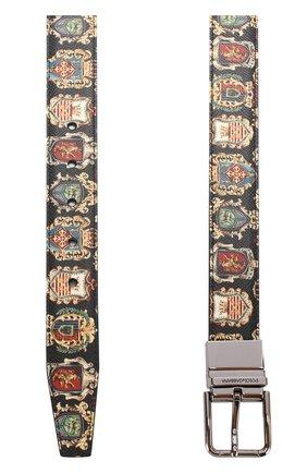 Кожаный ремень с принтом с металлической пряжкой Dolce & Gabbana разноцветный | Фото №2