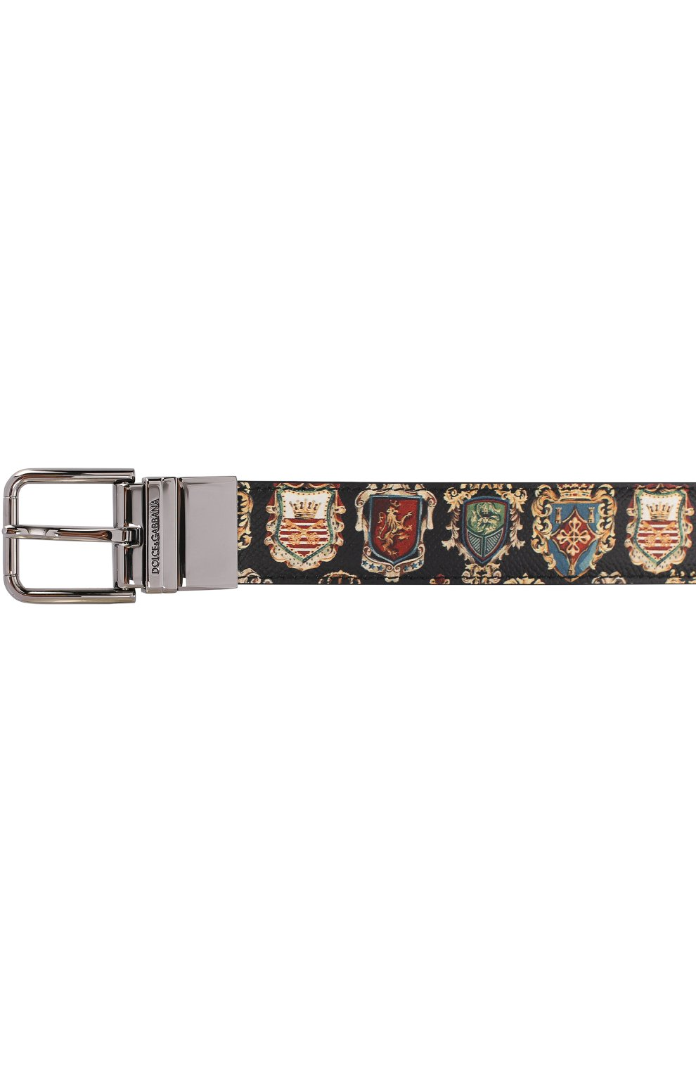 Кожаный ремень с принтом с металлической пряжкой Dolce & Gabbana разноцветный | Фото №3